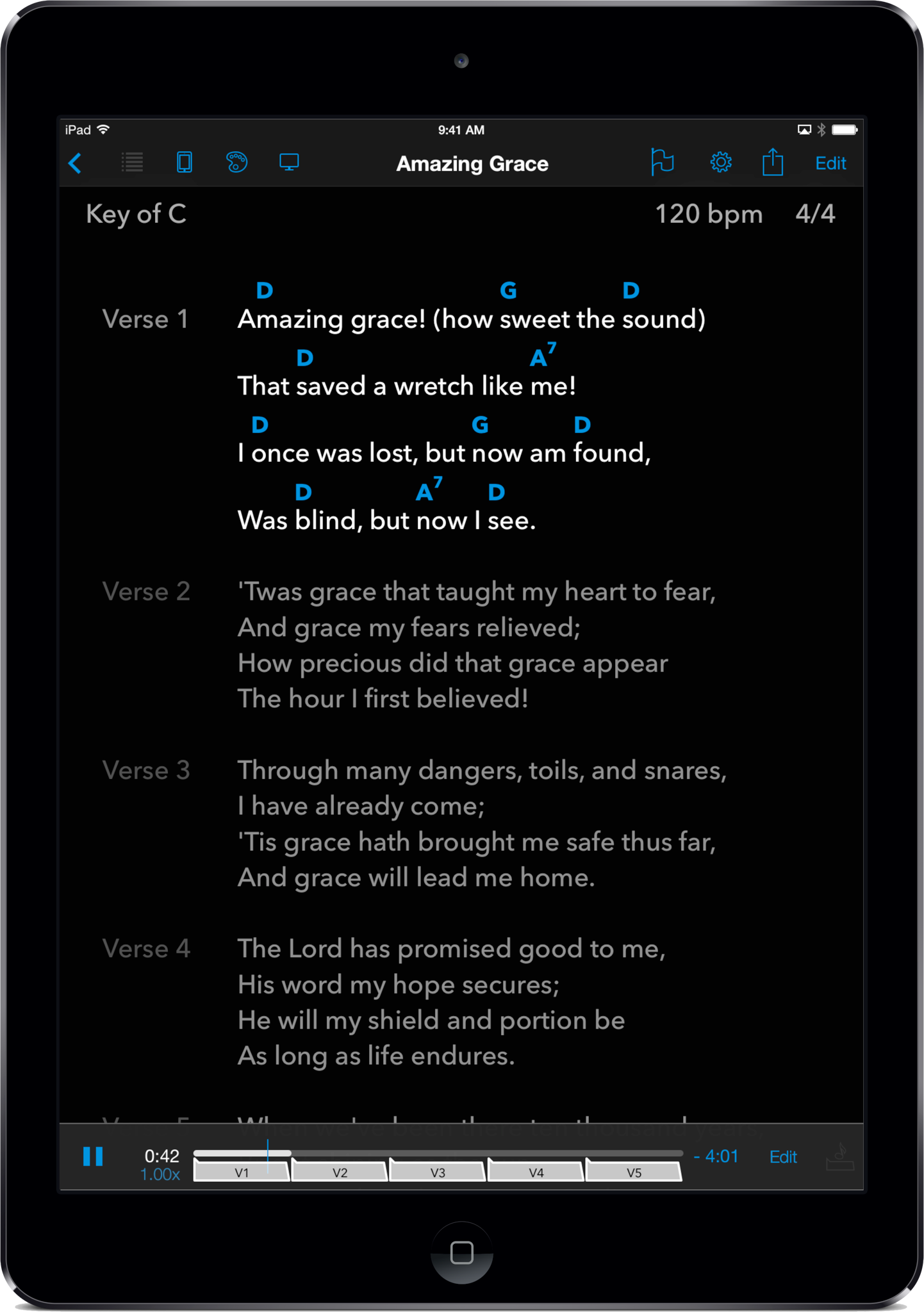 SongSheet Pro's perform view