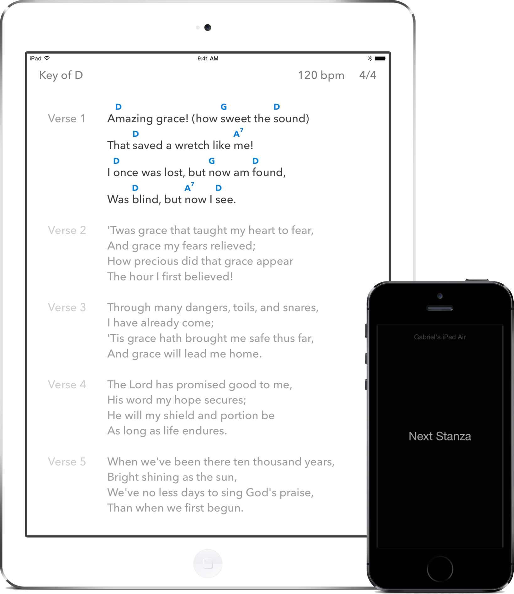 SongSheet Pro on an iPad controlled by SongSheet Remote on an iPhone