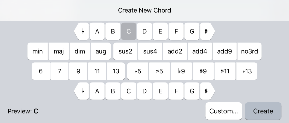 Adding a new chord to the chord palette